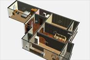 3D визуализация интерьера 3х комнатной квартиры 87м2