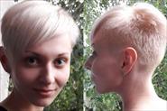Женская креативная стрижка  и окрашивание блонд
