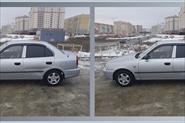 Устранение с фотографии вмятины на задней двери автомобиля